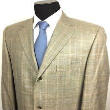 HUGO BOSS Mens 46R Beige Blue Plaid 3-Button Wool/Silk/Linen Sport Coat/Jacket