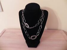 Silpada ~ Oxidized Hammered Sterling Silver Oval Chain Link Necklace ~ Item 1506