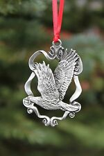 Lead Free Pewter Eagle Ornament bald eagle flying w/ ribbon Made in USA gift NEW