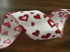 50 yards Premium Wired Ribbon 2.5 in. Wide - White With Red Hearts