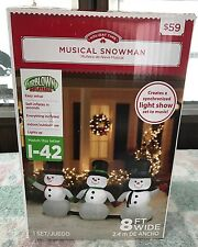 Gemmy Airblown Inflatable 8ft Musical Snowman Snowmen Light Show New Christmas