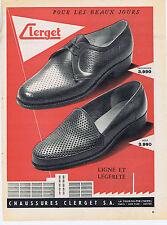 PUBLICITE ADVERTISING 094 1956 CLERGET chaussures  homme ligne et légéreté