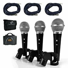 Pyle PDMICKT34 Professional Dynamic Microphone Kit - 3 Vocal Mics Included