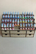 Paint Stand 52 bottle rack + storage draw for warpaint Vallejo, wargames, hobby