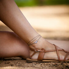 Minimalist Brown Cord Om Wrap Anklet Ankle  Bracelet Beach Yoga Chakra Jewelry