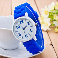 Unisex Geneva Women's Jelly Silicone Band Quartz Analog Sport Wrist Watches Girl