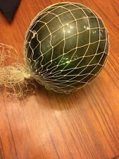 Antique Vintage Japanese Chinese Fishing Blown Glass Float Green Glass W/net