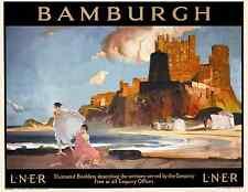 Un northumberland Bamburgh poster rétro vintage chemin de fer de voyage publicitaire art