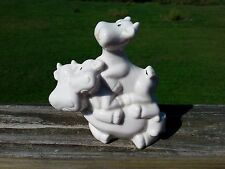 Vintage 3 Cows Stacked White Ceramic Cow Figurine