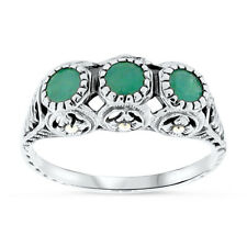 GENUINE EMERALD ANTIQUE STYLE .925 STERLING SILVER FILIGREE RING SIZE 8, #46