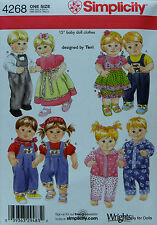"Simplicity 4268 DOLL CLOTHES PATTERN for most 15"" American Girl BITTY BABY TWINS"