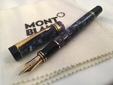Parker Duofold Centennial Marbled Blue Fountain Pen 18k Fine Nib Extra Large