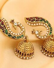 Indian Bollywood G. P Peacock Red and Green, Pearl Beads Jhumki Jhumka Earrings
