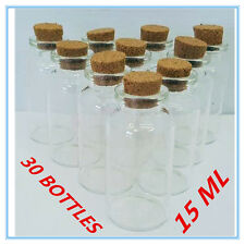 30 X MINI SMALL CLEAR GLASS CRAFT JARS BOTTLES WITH NATURAL CORK LID - CANDY AP