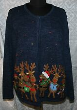 Womens Tiara Inl Sz 1X Christmas Sweater Cardigan Reindeer Ugly? Cute? Plus
