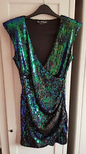 Never Worn Miss Selfridge Green Sequin Dress with Gathered Hem Padded Shoulder 8
