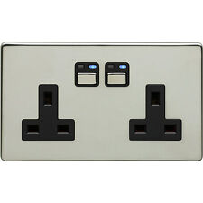 x5 New JSJSLW270 Chrome LightwaveRF 2 gang Double Power Elec Wall Plug Sockets
