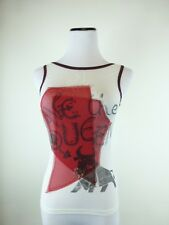 SAVE THE QUEEN WHITE RED black KNIT TOP SLEEVELESS GRAPHIC logo bull TORO S
