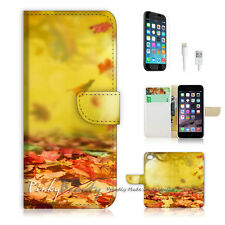 "iPhone 6 (4.7"") Print Flip Wallet Case Cover! Autumn Fallen Leaf P0219"
