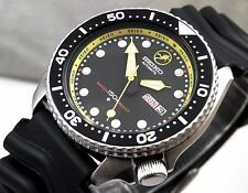 Large Seiko 'Frogman' Black Yellow Automatic Day/Date Diver's Watch Custom 6309