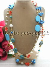 R072905 50'' Keshi Pearl&Turquoise&Coral&Crystal Necklace