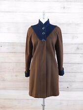 Vtg 70s 80s PETITE SOPHISTICATE  Brown Black Color Block Winter Coat Sz M L