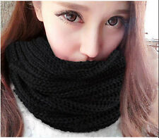 Womens Mens Winter Warm Infinity 1 Circle Cable Knit Cowl Neck Scarf Shawl black