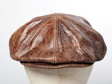 Jill Corbett Leather 8 piece cap cracked brown Handmade in UK to order S/M/L/XL