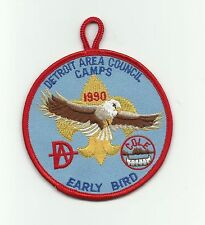 SCOUT BSA DETROIT AREA CAMPS 1990 EARLY BIRD COLE D BAR A CAMP PATCH RESERVATION