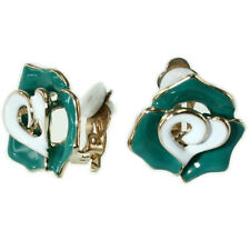 VINTAGE INSPIRED 18K GOLD PLATED TEAL AND WHITE ENAMEL FLOWER CLIP-ON EARRINGS