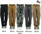 MENS PREMIUM CASUAL MILITARY ARMY CARGO HEAVY SOLID COMBAT WORK PANTS 3 COLORS