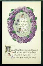 BIRTHDAY GREETING Thoughts of Thee Where'er Thou Art VIOLET CIRCLE Postcard