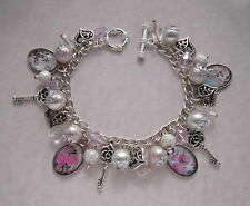 Vintage Style Pink Clear Silver Shabby Roses Cabochon Charm Bracelet