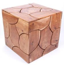 Moderner Design-Hocker / Beistell-Tisch aus Teak-Holz, ca. 40x40x40cm