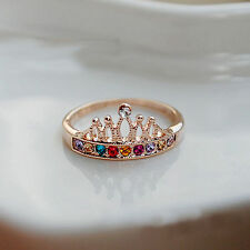 USA New Princess Women Multi-Color Rhinestone Crown Ring Gold Plated Ring Size 6