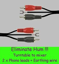 ELIMINATE HUM !! ❤ PAIR OF TURNTABLE TO MIXER LEADS (Including Earthing Wire) ❤
