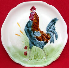 ANTIQUE CHOISY LE ROI MAJOLICA COLORFUL ROOSTER PLATE c 1900
