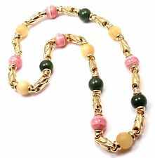Authentic! Bulgari Bvlgari 18k Yellow Gold Jade Rhodochrosite Bead Link Necklace