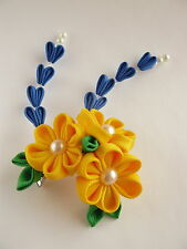 Kanzashi flower hair clip with falls-japanese oriental Geisha costume Kimono