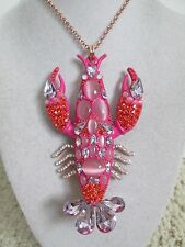 NWT Auth Betsey Johnson Betsey's Boat House Pink Lobster Long Statement Necklace