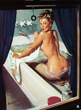 "Vintage GIL ELVGREN Pinup Girl A3 CANVAS PRINT Poster Sexy in Bath 16"" X 12"""
