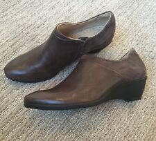 Ecco Women's Shoes 39 8 Brown Leather Ankle Boots Wedge High Heel