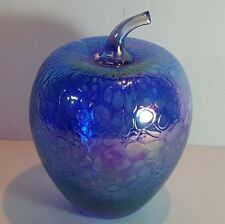 HERON STYLE GLASS IRIDESCENT BLUE LUSTRE - LARGE FRUIT PAPERWEIGHT - APPLE 5.25""