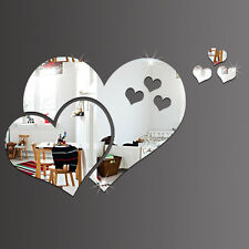 3D Mirror Heart-shaped Stickers Decal DIY Home Room Art Mural Decor Removable