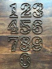 """SET of 10 Cast Iron Numbers 4-5/8"""" House Address Number Craft Indoor Outdoor Use"""
