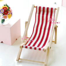 1/12 Dollhouse Miniature foldable Red white Beach Chair chaise longue