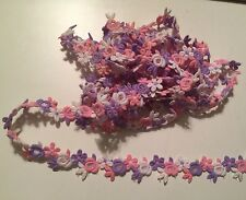 3+ Yards Vtg Crochet Lace Trim Sewing Crafts Hand Sewn Floral Purple Pink White