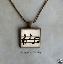 Musical Necklace Sheet Music Note Altered Art Image Charm Glass Pendant VTG