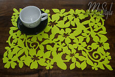 PAIR of Lime Green Felt Placemat Table Mat Openwork Floral Design