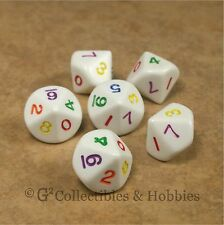 NEW Set of 6 White D10 with Multi-Colored Numbers RPG D&D Game Ten Sided Dice